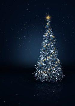 christmas tree, star, lights